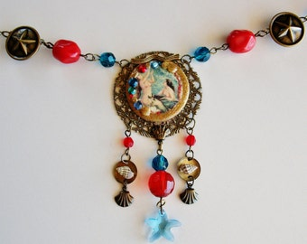 Mermaid Seashell Assemblage Necklace, Nautical Mermaid Statement Necklace