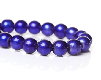 Royal Blue Glass Beads - 8mm - #GBS183