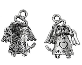 10 pieces Antique Silver Wing Heart Dog Angel Charms