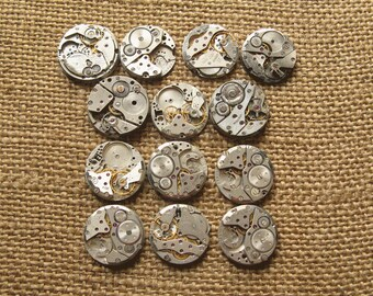 13 pcs Assorted Watch Movements, Small Watch Movements, Steampunk Supplies, Watch Movements for Parts, Antique Watch Parts