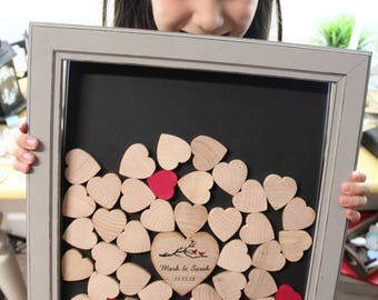 wedding Alternative guestbook frame | Drop box  | Wedding  guest book frame | guestbook box with heart unique guestbook anniversary gift