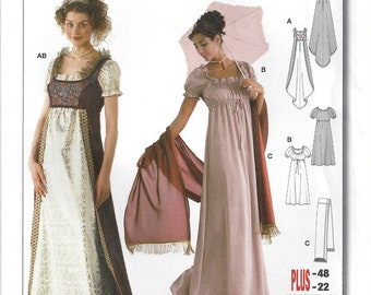 Jane Austen Costume Regency Period  Empire Waist with Train Burda 2493 Plus Sizes Misses 10 12 14 16 18 20 22