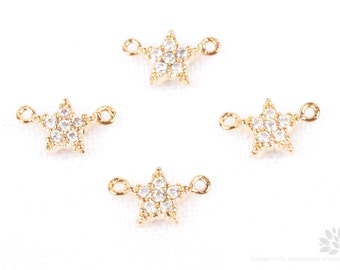 P678-G// Gold Plated 5mm Cubic Mini Star Connector, 1 pc