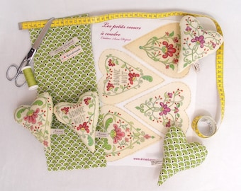 Sewing kit: 4 little hearts