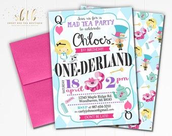 Alice in onederland etsy more colors boys girls alice in wonderland first 1st birthday invitation filmwisefo