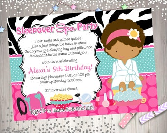 Spa Sleepover Birthday Invitation Invite Sleepover spa party invitation Spa birthday Party Printable CHOOSE YOUR GIRL
