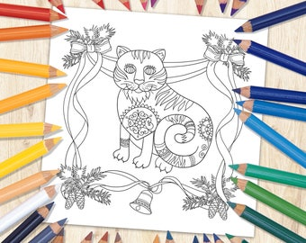 Cat Coloring Page, Cat Art, Printable Coloring Page, Kids Coloring Page, Animal Coloring Page, Fairytale Art, Downloaded Coloring Page