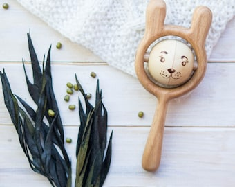 Traditional Rattle with Peas. Organic Wooden Rattle. Teething Toy. Natural Infant Toy. Beech and Linden rattle. Hare rattle.