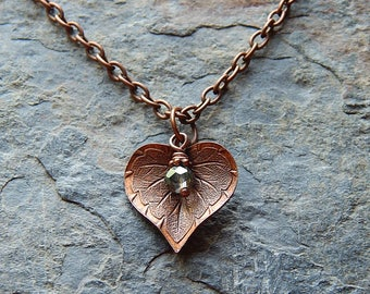 Delicate copper leaf necklace - etched leaf - woodland jewelry - copper and pale green crystal necklace - sweet - darling - gift for her