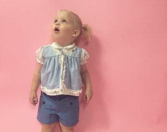 Vintage Light Blue Floral Print Dress/Top (Size 12 Months)