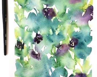 Original watercolour painting | Floral | abstract | wall decor | Green | Purple