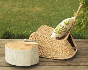 Tree Trunk End Table scandinavian style Wooden Stump table on Rolling Casters white sides baumstamm tisch sgabello ceppo di legno