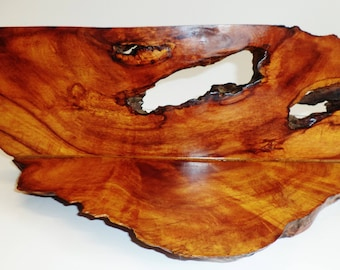 Vintage Hawaii Koa root display plaque w. fine exotic grain and natural root bark  two slips jointed sailboat shape