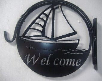 Sail Boat Welcome Metal Plant Hanger