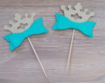 Shabby chic Crown cupcake toppers, 12 Aqua and gold glitter cupcake toppers, Bow and crown, bridal shower, baby shower,birthday, kitchen tea