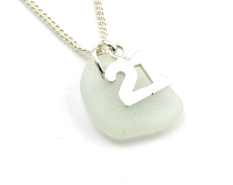 Pale Seafoam Sea Glass Sterling Silver 21 Charm Necklace