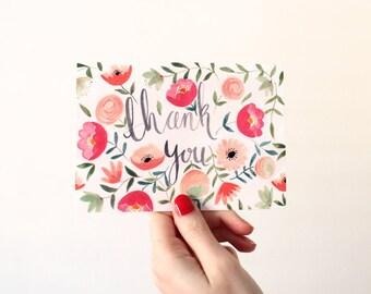 Tarjeta floral ilustrado gracias