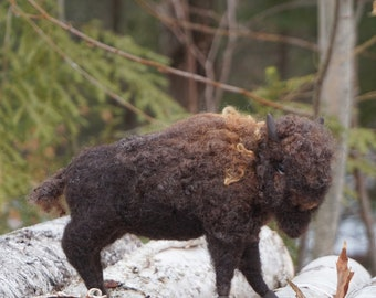 Needle Felted Bisson Buffalo Animal Sculptures by Bella McBride