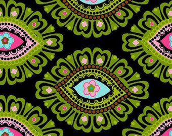 Elephant Eye Paisley Fabric on Black / Springs Creative Product Group / 100 % Cotton / Sold by the 1/2 Yard