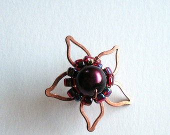 Copper Flower Earcuff Handmade with Wine Red Glass Pearl