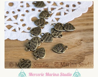 5 charms heart made with love bronze 10x12mm