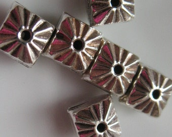 sterling silver bead 925 Sterling silver 5mm square beads-ONE sterling silver bead  beading supplies  jewelry supplies