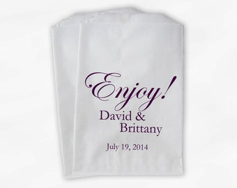 Enjoy Wedding Candy Buffet Treat Bags in Purple - Personalized Favor Bags with Couple's Names and Wedding Date - Custom Paper Bags (0026-2)