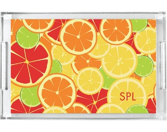 Personalized Lucite Tray, Monogram Serving Tray, Acrylic Tray for Summer - Lemons and Limes