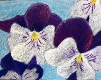 Peonies- 5x7 Pastel Drawing
