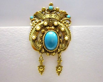 Vintage Turquoise Bead Brooch Gold Dangling Pin Gift for Her Gift for Mom Idea Under 20 Jewelry Gift