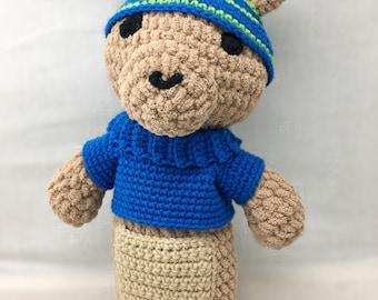 Buckie the Kangaroo, kangaroo toy, crochet Kangaroo, crochet toy, stuffed Kangaroo,