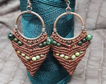 Micromacrame and Agate earrings