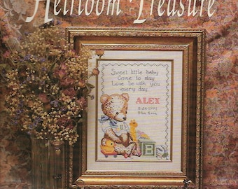 Vintage Heirloom Birth Record for Baby Needlepoint Embroidery Tapestry DIY KIT Welcome Baby Nursery Room Decor Wall Art Pillow Vintage