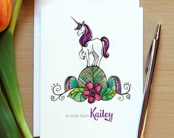 Personalized Unicorn Note Cards, Watercolor Unicorn, Zentangle Unicorn, Unicorn Thank You, Little Girl Gift, Granddaughter Gift, Niece Gift