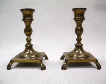 Vintage Brass Candle Holder Set Footed HB