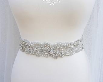 Bridal belt, beaded bridal belt, pearl belt, all around belt, wedding dress belt, floral bridal belt, wide belts, embellished belt, KAREN