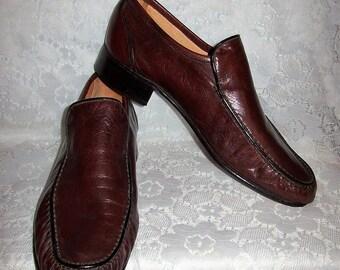 Vintage 1960s Men's Cordovan Slip On Leather Loafers by Rieker Lederstrumpf Size 8 1/2 Mod Only 18 USD