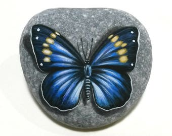 Pebble painting miniature butterfly! Painted with acrylics on flat sea pebble and finished with gloss varnish. Original stone art, gift idea