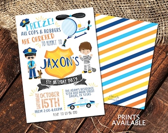 COPS & ROBBERS BIRTHDAY Party Invitation | Cops and Robbers Invite | Printable File