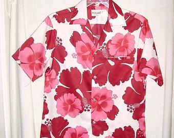 Vintage 70s Poly Hawaiian Shirt M Pink Maroon Flower Print His Hers
