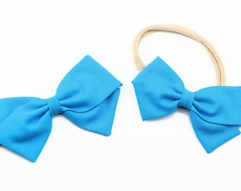 Turquoise Bow, toddler, baby girl, fabric bow, nylon headband or clip, newborn,