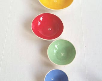Nesting bowls. Set-of-4 small bowls. Small ceramic bowls for appetizers and snacks. Mini-stacking pottery bowls. Gift under 50. by Kri Kri