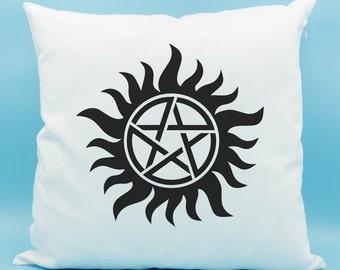 Supernatural Pillow - Anti-Possession Tattoo Throw Pillow - Supernatural Protection Charm Pillow - Supernatural Amulet Design Pillow