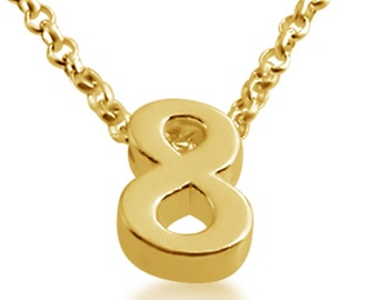Number 8 necklace etsy number eight 8 symbol serif font charm pendant necklace 14k gold plated over 925 sterling silver azaggi n0597g8 aloadofball Choice Image