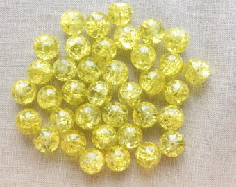 Crackle Glass yellow neon 10mm beads LBP00186E 20
