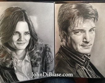 Original Drawings of Nathan Fillion and Stana Katic from TV's Castle (NOT a print)