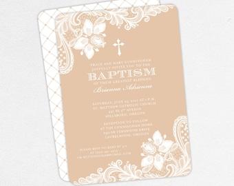 Baptism Invitation, Christening Invitation, Girl Baptism, Printable Baptism Invitation, PDF, Lace, Burlap, Rustic, Cross, Brown, Brianna