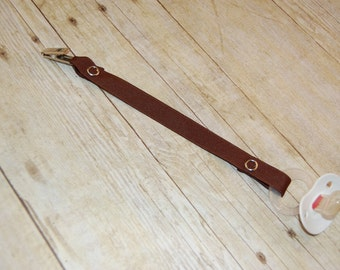 Pacifier Clip, Chocolate, Personalization Available, Ready to Ship