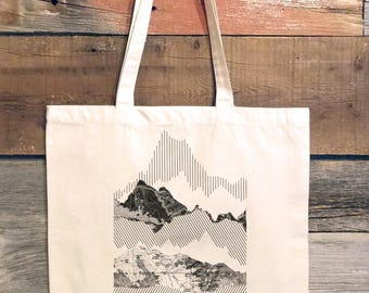 Geometric Mountain Illustration - Natural Cotton Canvas Tote