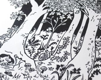 Woodland Walk - original handmade lino cut - lino print - countryside, woods, nature, nursery, home interiors, black and white, wildlife,